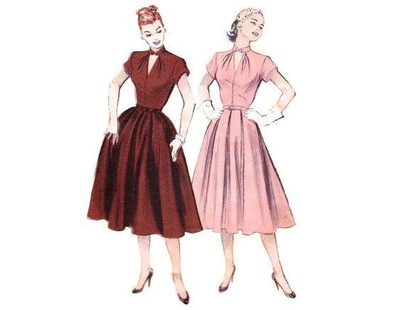 1950-х годов платье узор, Butterick 6257, Каплевидным вырезом, юбкой, встречными складками, короткие рукава, старинные картины, шитье, Бюст 30, режиссерский