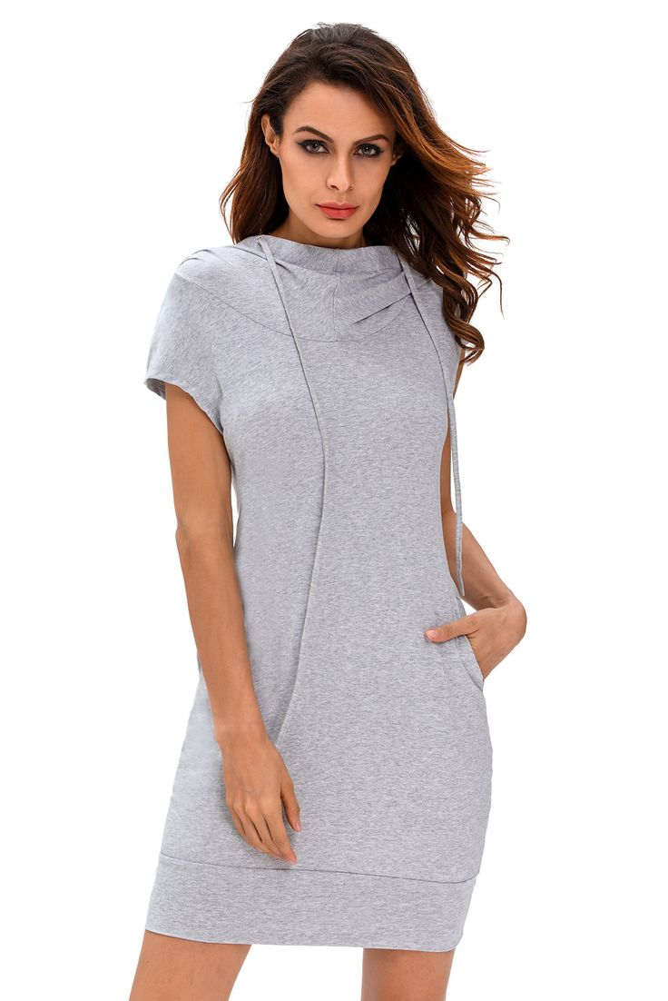 Chicloth Heather Grey Hooded Sweatshirt Dress