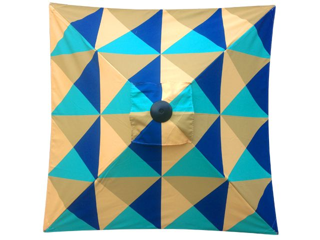 Another one of our printed umbrella jobs - Geometric shapes printed on Sunranger Cafe Series Outdoor Umbrella - 2.1m Square Umbrella
