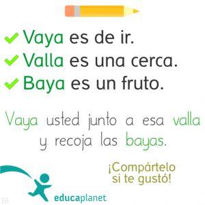 Ortografía chuleta valla, baya, vaya #ortografía #juegos #consejos #español #apps by @evacreando para EDUCAPLANET