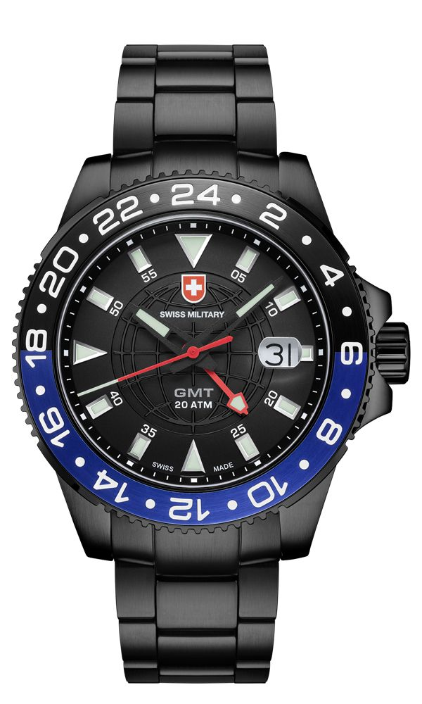M's Swiss Military GMT NERO, Swiss Made Ronda cal. 515.24 2nd timezone, 1 jewel, black dial, black PVD plated stainless steel case/bracelet (width 20mm, safety butterfly buckle), screw-down winding crown, sapphire crystal. Case: diameter 42mm, thickness 10.5mm, 20atm water resistant. Weight: 176gr. HS Code: 9102.1100.116