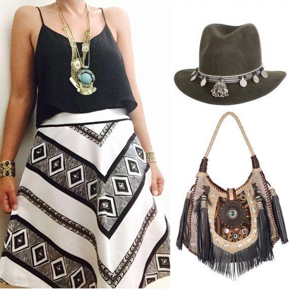 Gorgeous Black and white Silk Tribal  Skirt / Tribal Skirt / Bohemian Style Woman skirt / Midi length Skirt / Size 6 / Medium