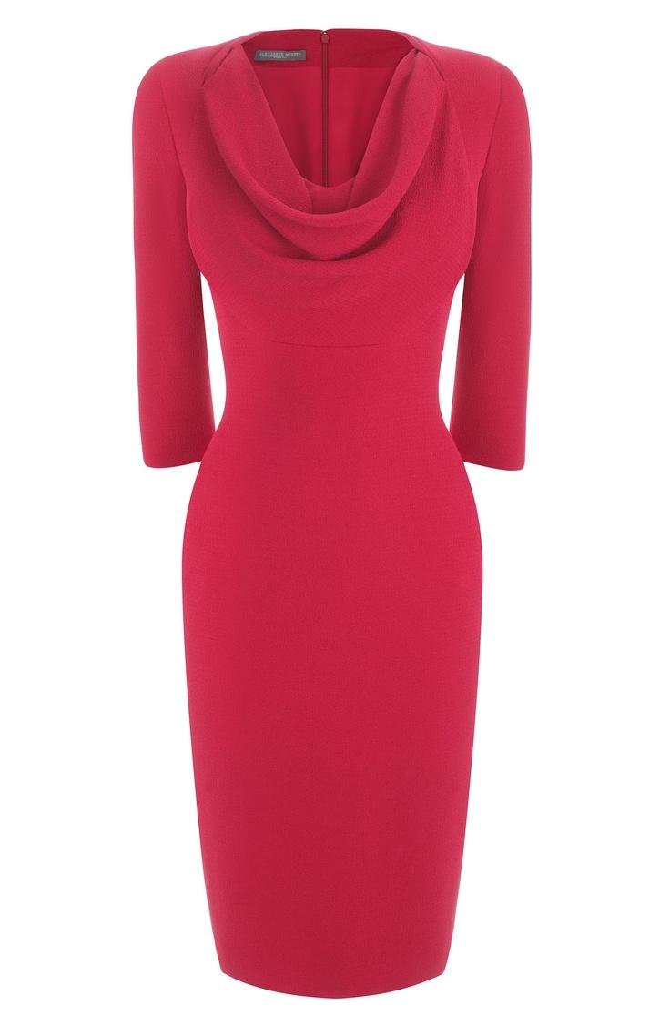 Cherry Textured Silk Cowl Neck Pencil Dress. Alexander McQueen