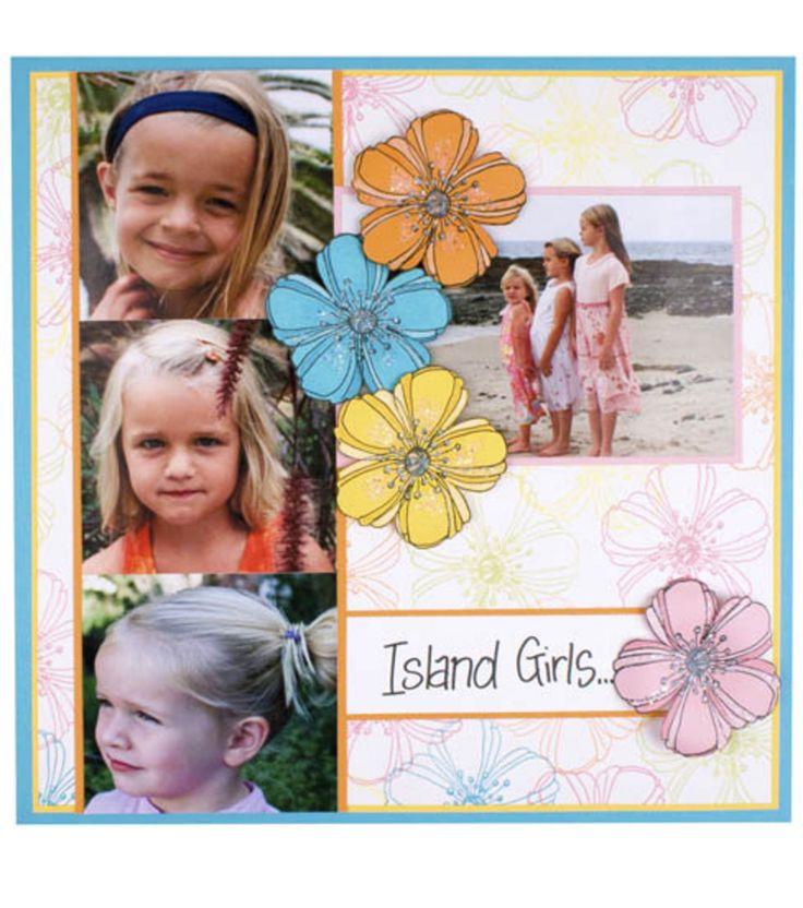 Island girls themed scrapbook page design