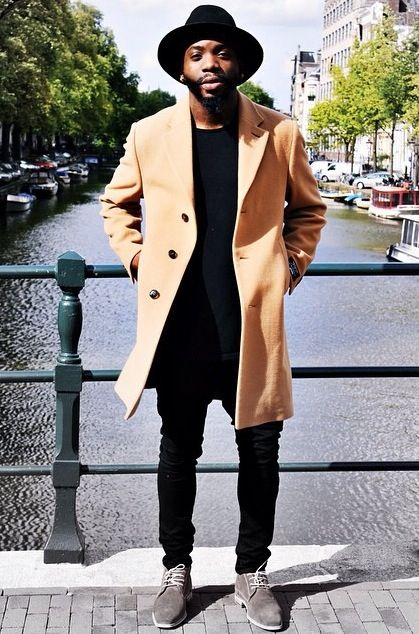 Camel Coat Amp Black Outfit Fashionable Men Camel Coat