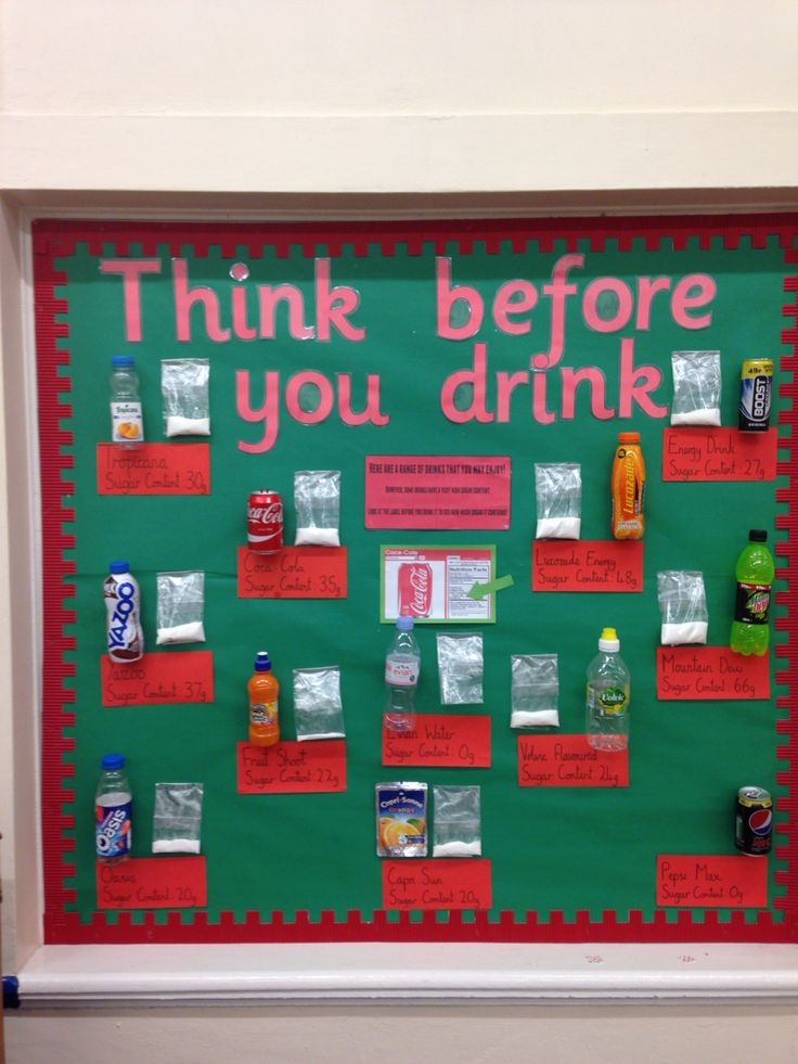 Primary school hall display showing the sugar content in popular drinks.