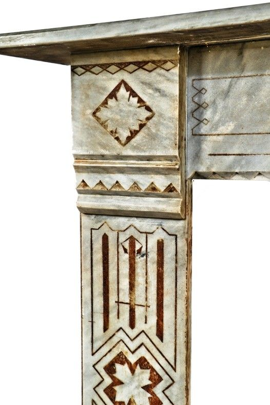 original and completely refurbished mid-1870's antique american salvaged  chicago gray marble residential fireplace with - 134 Best Antique Fireplace Mantels & Inserts Images On Pinterest