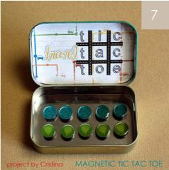 Fun idea for kids while waiting. Magnetic tic tac toe from Altoids