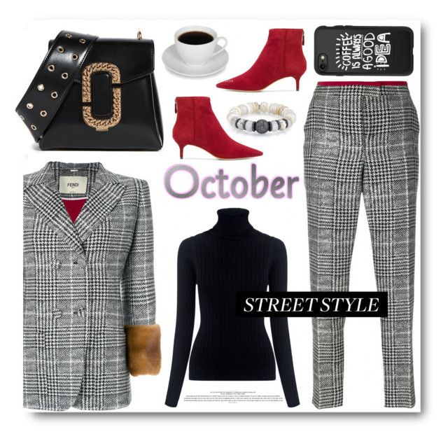"""""""Street Style"""" by stylish-sparkles ❤ liked on Polyvore featuring Fendi, M.i.h Jeans, Sheryl Lowe, Alexandre Birman, Marc Jacobs and Casetify"""