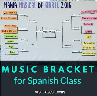 Music Bracket - for Spanish class March music madness!  | Mis Clases Locas