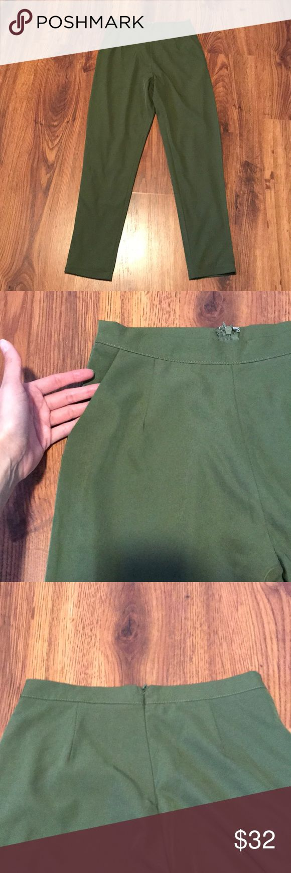 Olive green high-wasted pants GREAT CONDITION - worn once - looks like new. Olive green high-wasted, skinny pants. Zipper closer on back. Pockets shown. ***these pants are a set to the olive green crop top I have listed*** (color is the same - looks different in photo because of lighting) Pants