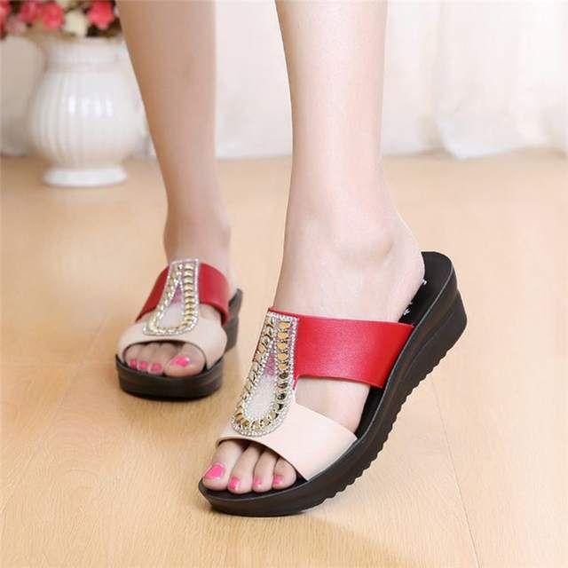 Sandalias De Moda Mujer Zzpohe 2018 Verano Mujer Chanclas De Cuero Cuñas Sandalias De Plataforma Señ Fashion Shoes Sandals Mens Leather Sandals Womens Slippers