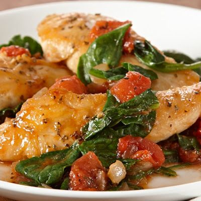 Sauteed Chicken with Spinach and Tomatoes Very tasty!  I actually used fresh chopped chicken thigh, much more Spinach and fresh Campari Tomatoes and it was delicious!