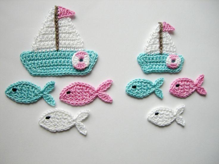 Häkelapplikation, Segelbootset mit Fischen von Hannis-Schatzkiste auf DaWanda.com