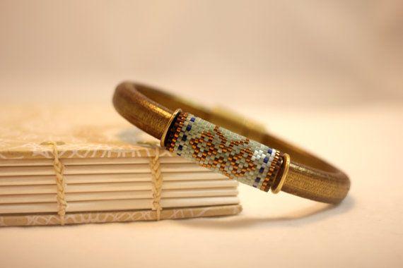 Peyote beaded bead on a Regaliz leather bracelet, seafoam, aqua, bronze, blue, gold, handmade, casual chic, unique, tile-inspired - no. 2036 on Etsy, $40.00