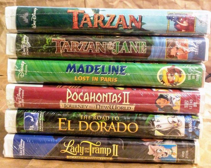 6 NEW Walt Disney Tarzan Madeline Pocahontas 2 Lady&The Tramp El Dorado Jane VHS