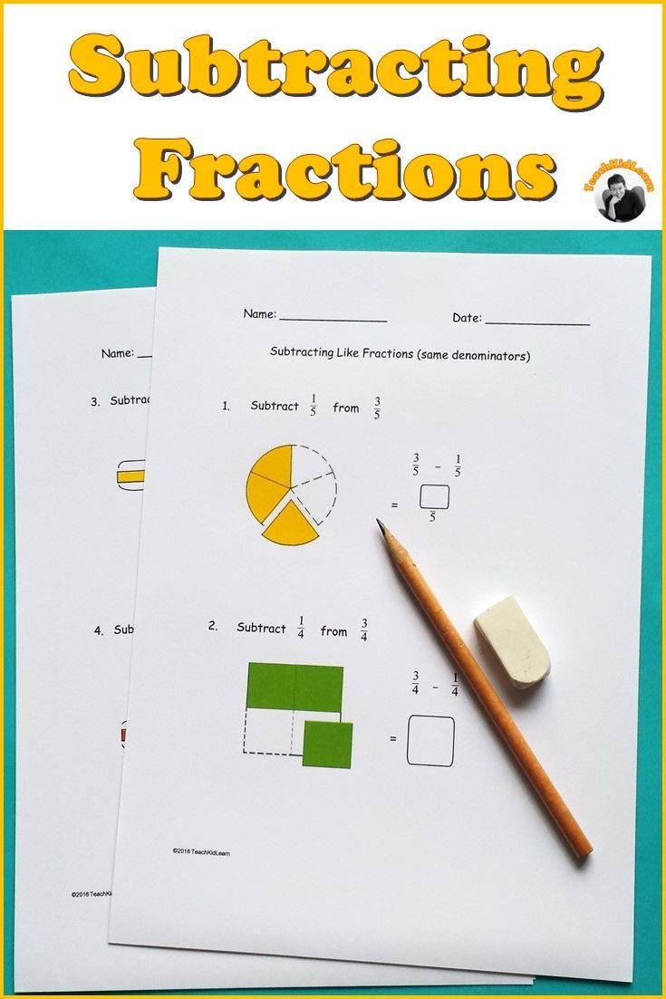 Fractions worksheets for students to practice subtracting like and unlike  fractions. A s…   Fractions worksheets [ 1103 x 735 Pixel ]
