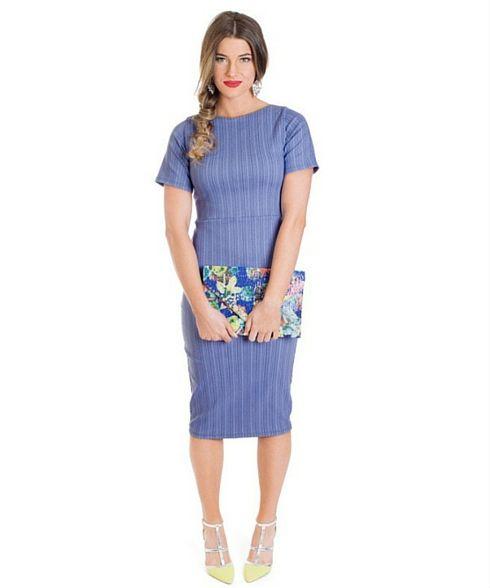 Emma - blue pinstripe midi-dress from Omika.