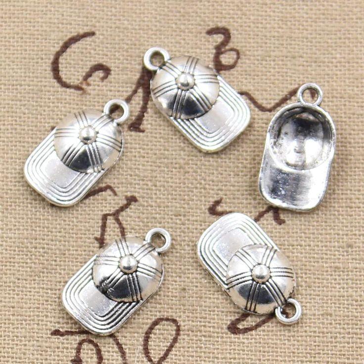 99Cents 12pcs Charms baseball ball cap hat 20*10mm Antique Making pendant fit,Vintage Tibetan Silver,DIY bracelet necklace