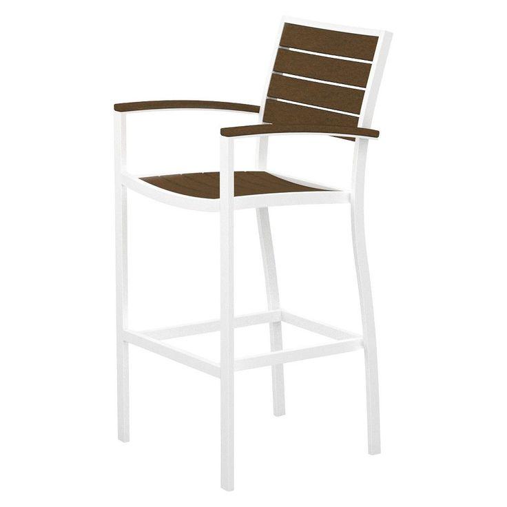 Euro Bar Height Patio Dining Arm Chair - White/Teak - Polywood, White/Brown