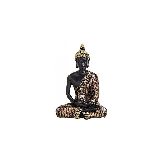 Decoratie Boeddha beeld zwart goud 11 cm  Boeddha beeld zwart/goud 11 cm. Dit beeld van een Boeddha is gemaakt van polyhars en heeft een formaat van ongeveer 8 x 5 x 11 cm hoog.  EUR 5.95  Meer informatie