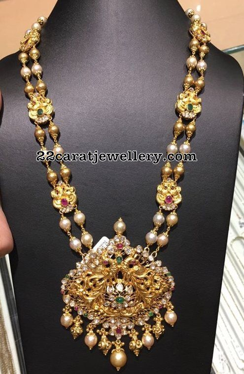 South Sea Pearls Gold Balls Long Set