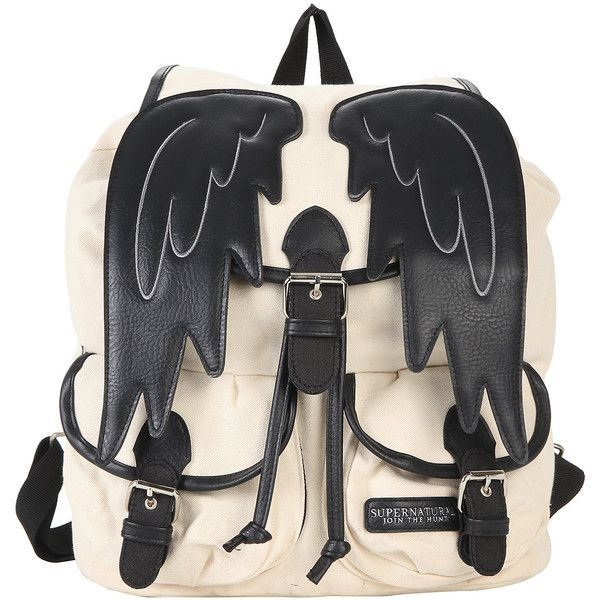 Supernatural Castiel Wings Slouch Backpack Hot Topic (£20) ❤ liked on Polyvore featuring bags, backpacks, slouch backpack, wing bags, day pack backpack, backpacks bags and winged backpack