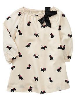 Baby Gap NWT Riviera Holiday Wonderland Scottie Dog Satin Dress 3 6 Months