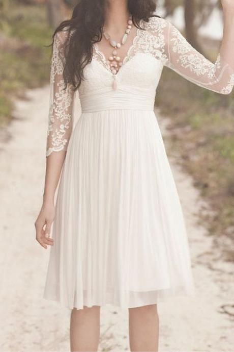 Ivory Lace Prom Dress White Wedding Dress Short Bridal