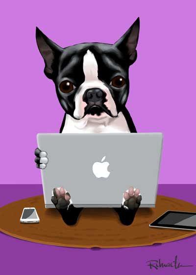 Boston Terrier ama suo macbook di rubenacker su Etsy