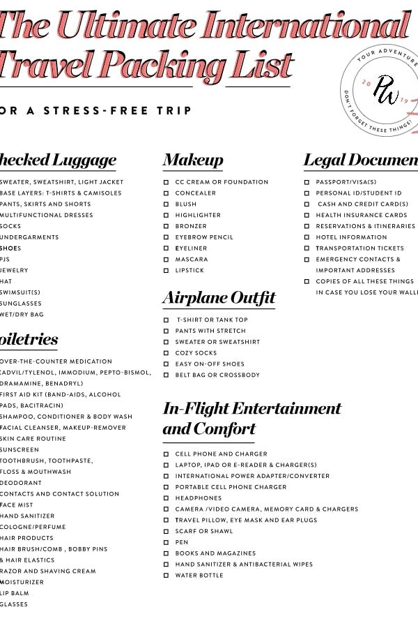 The Ultimate International Travel Packing List For A Stress Free Trip International Travel Packing Packing List For Travel Travel Packing List International