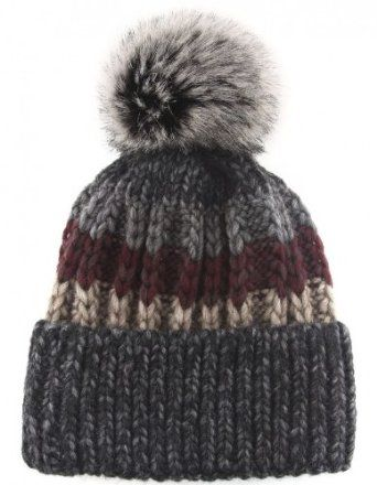 Gebeana Stripe Cable Knit Bobble Hat Multi-Coloured