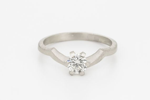 Diamond wave engagement ring,solitaire solid gold engagement ring,wedding ring 18K,unique wedding ring,unique wedding band,dainty stacking