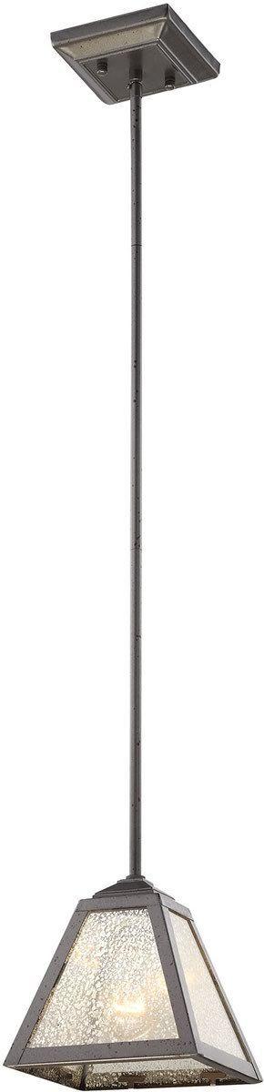 "$138.00. 7""x7"". Plano 1-Light Pendant Iron Rust/Mercury Glass"