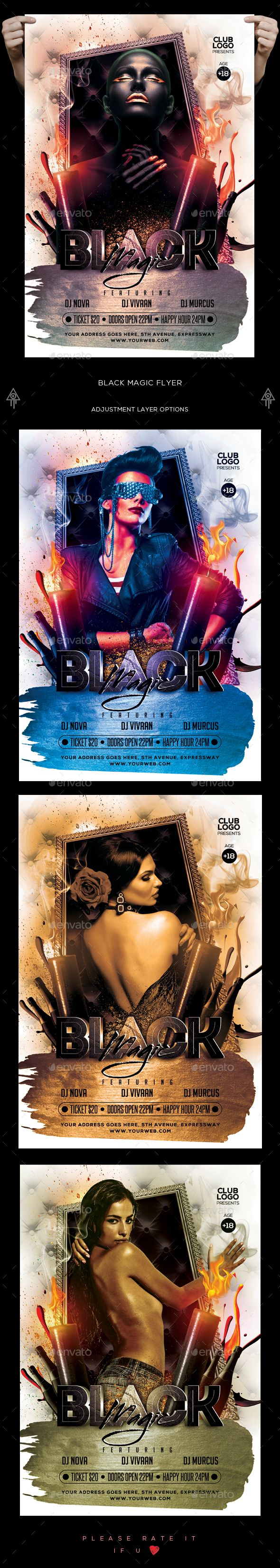 Black Magic Flyer Template PSD