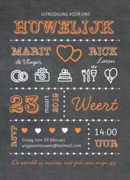 Krijtbord trouwkaart typografie