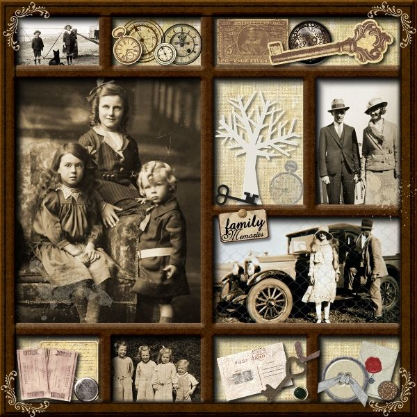 Heritage Shadow Box made with family photos! Decide on theme, assemble related objects and photos.