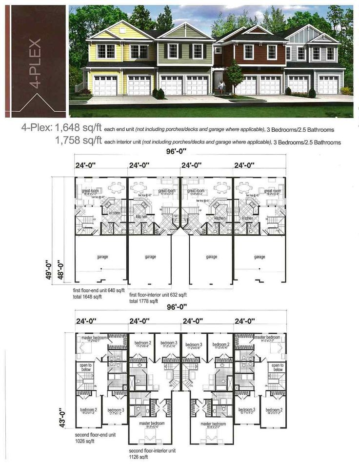 92 best duplex fourplex plans images on pinterest home for Four unit apartment building plans