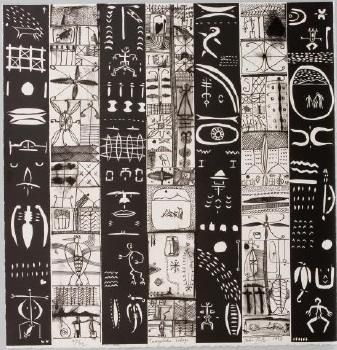 John Pule, Tuagafale lologo, woodcut and litho, 1998