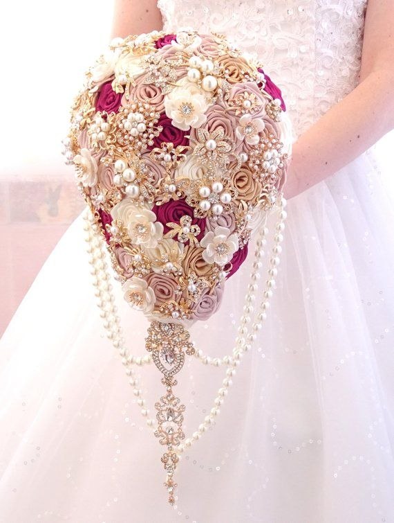 ivory colours cream champagne Wedding bridal teardrop cascading bouquet. Rose gold BROOCH BOUQUET blush