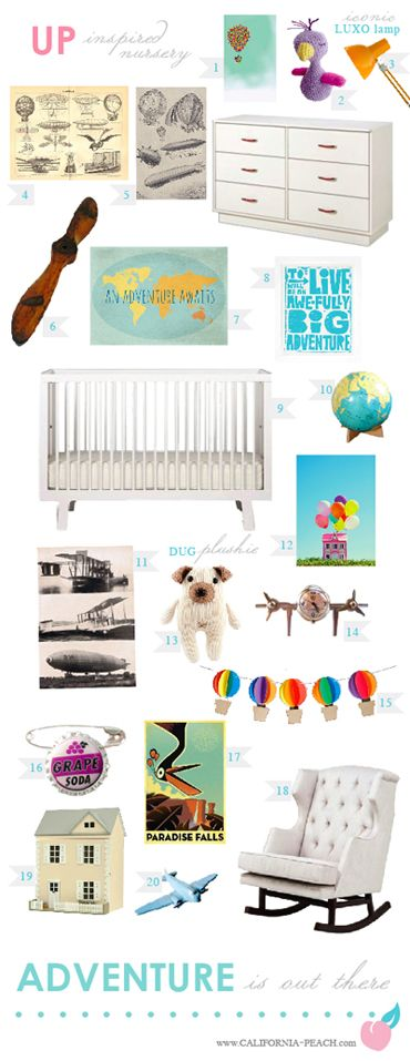 Disney Pixar's UP - Inspired Nursery! -- Disney, Pixar, UP, Kevin, Dug, Doug, Carl, Muntz, Adventure is Out There, Travel, Baloons, Pilot, Plane, Airplane, Areospace, Modern, Toddler Room, Toddler Bed, Twin Bed, Kids, Kid, Nursery, Baby Room, Baby, Nursery, Blue, Teal, Aqua, Rainbow, White, Light, Gender Neutral, Neurtal Nursery, Boy, Girl, Masculine, Feminine, Art, Baby Room, Nursery, Style Board, Oeuf, Crib, Non-Toxic, Green 0VOC, Eco Friendly, Organic