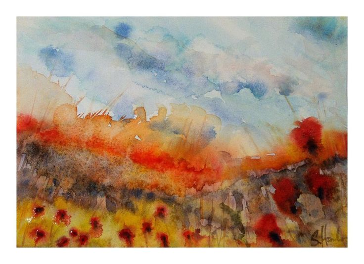 Field's afire #poppies #watercolour