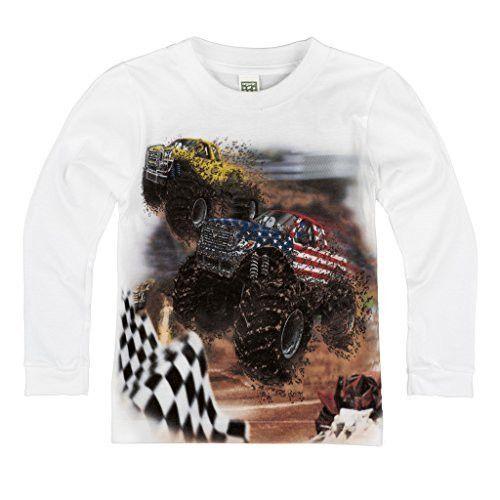 Shirts That Go Little Boys' Long Sleeve Big Monster Truck Racing T-Shirt
