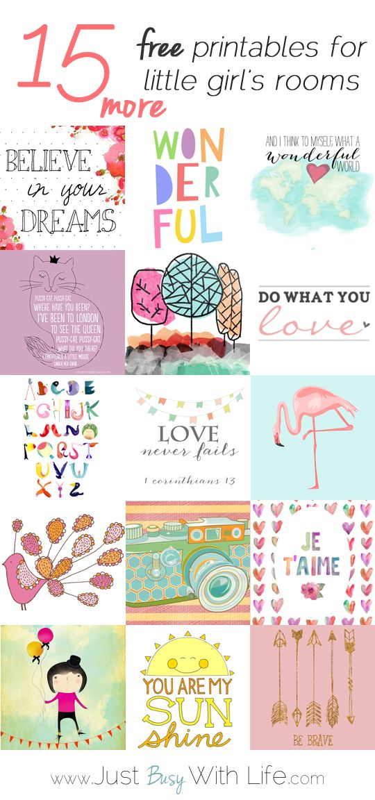 15 More Free Printables for Little Girl's Rooms |