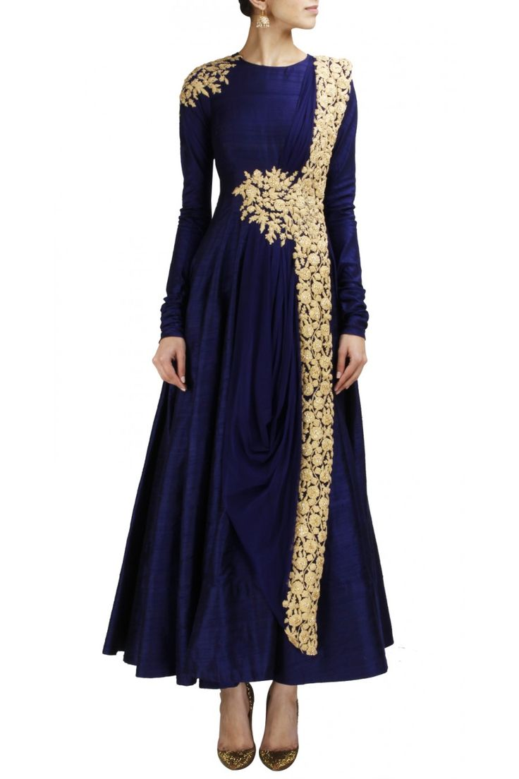 Navy blue raw silk anarkali with gold embroidery available only at Pernia's Pop-Up Shop