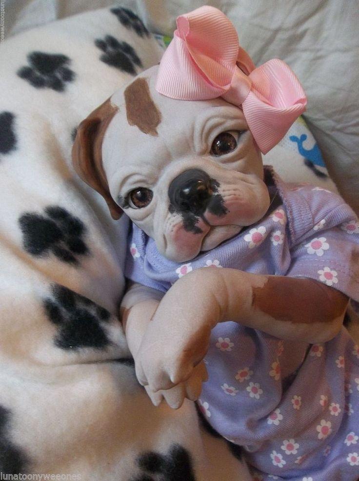 Reborn Girl Bull Dog Puppy Art Doll Ooak Pup Baby Princess