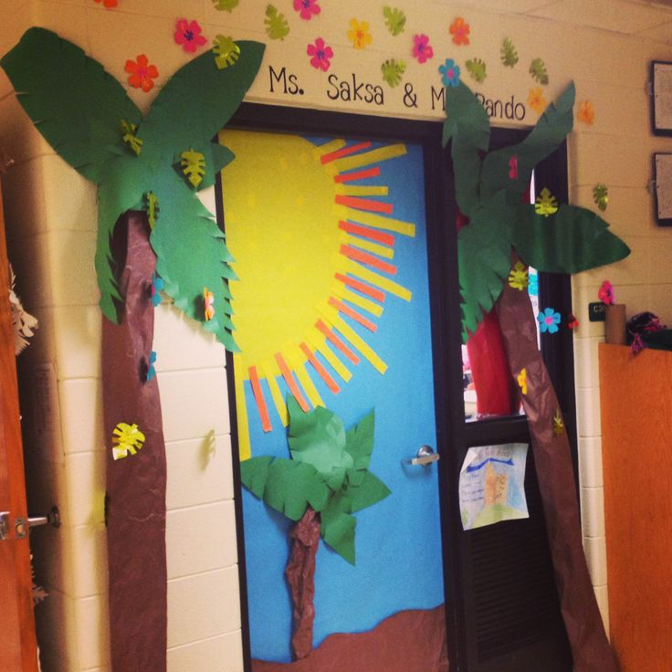 Hawaiian Decor Aloha Style Tropical Home Decorating Ideas: Tropical Inspired Classroom Door!