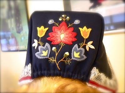 Back of Norwegian women's hat.