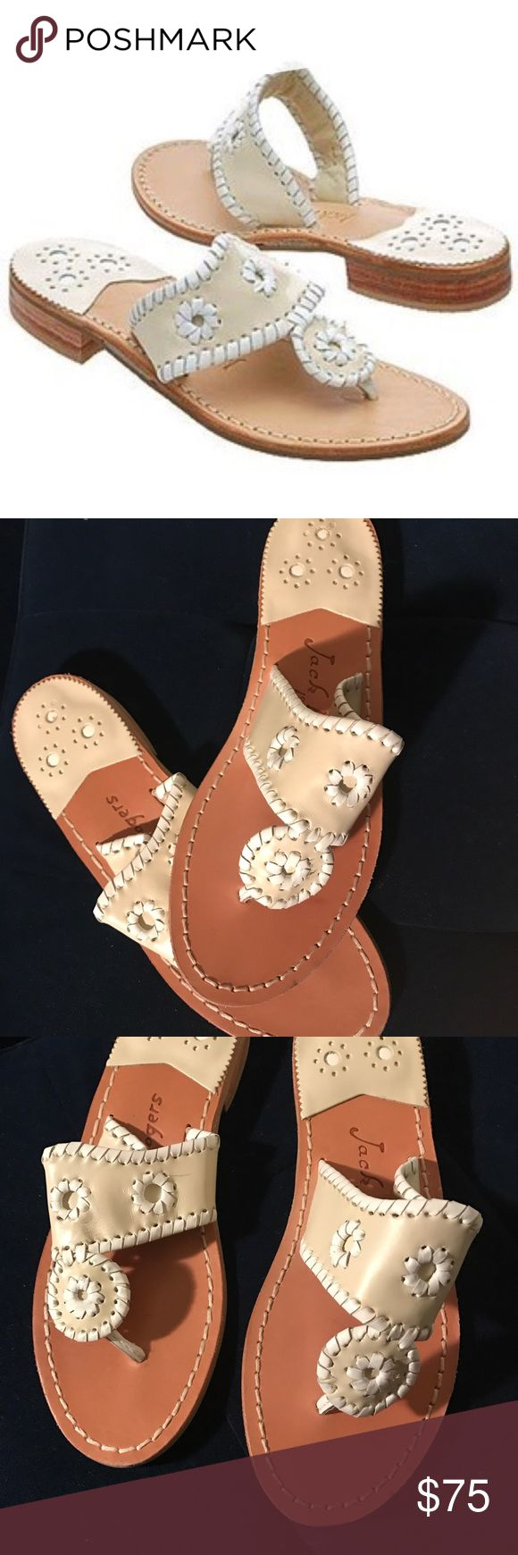 Palm beach bone and tan by jack rogers sandals Size 6M brand new no box Jack Rogers Shoes Sandals