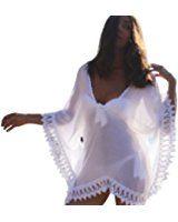 West See Damen Weiß Nachtwäsche Bikini Kleid Bluse Hemd Strandkleid Spitze